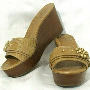 Tory Burch 7M Eloise Wedge Slides Sandals Leather